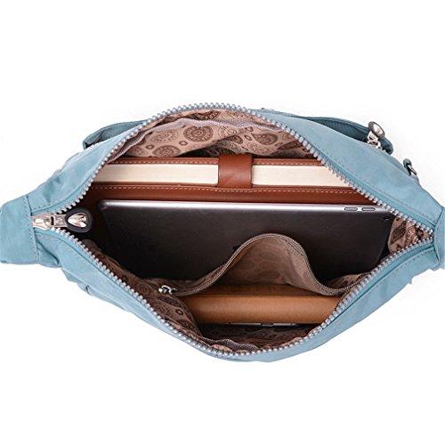 Azul con Bandolera Ligero Mujer Nailon Bolsa Messenger Casual cremallera Bag de Bolso claro bolsillos hombro tianhengyi wq64x5PIw