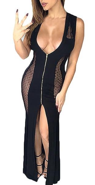 Battercake Vestidos De Fiesta Mujer Largos Elegante Sin Mangas V Cuello Transparentes Casuales Mujeres Vestido De Noche Splice Jovenes Fashion Coctel Skinny ...