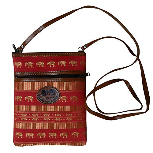 (Thai Made Red Purse Stripes & Elephants Women's Clutch)