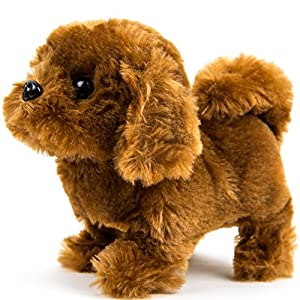 Puppy Plush Dog Toy for Kids - Puppy Toy,Walks, Barks - Battery Operated (Dark Brown)