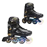 YF YOUFU Adjustable Inline Skates for Boys/Girls/Kids/Adult, Roller Skate/Blades with Triple Protection, Front Foot Shield, Hard PU Wheels, Patines with Light-up Wheel on Front for Youth, Men, Women