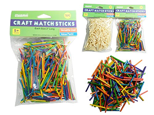 J&J's ToyScape Craft Match Sticks, Wood Natural & Multi Colored (Pack of 2, 1500 Pcs) Perfect For Art & Craft, School Projects, Fine Motor Skills & Tasks