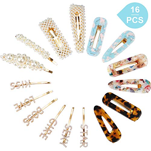 (16 Pcs Word Letter Hair Clips Bobby Pins Acrylic Resin Alligator Hair Barrettes Pearl Hair Pins Hair Accessories for Women Girls)