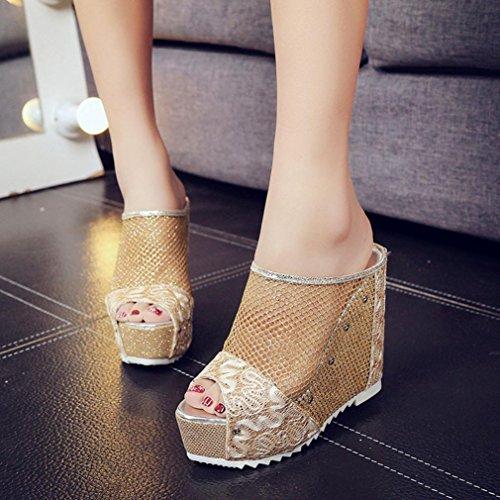 Sonnena Women Flip Flops Hollow Wedge High Heel Shoes Ladies Summer Sandals Gold 3Q4ZlzbSgV
