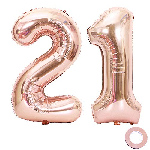 Juland Rose Gold Number 21 Balloons Large Foil Mylar Balloons 40 Inch Giant Jumbo Number Balloons for 21th Birthday Party Decorations -