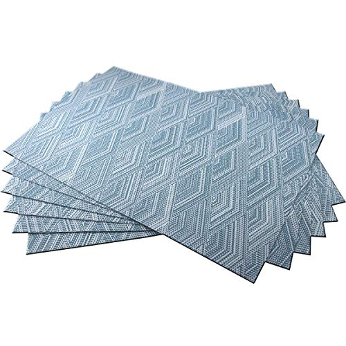 BeChen Placemats,Washable Woven Vinyl Placemats for Dining Table,Easy to Clean Plastic Placemats Set of 6(Thicken,Baby Blue)