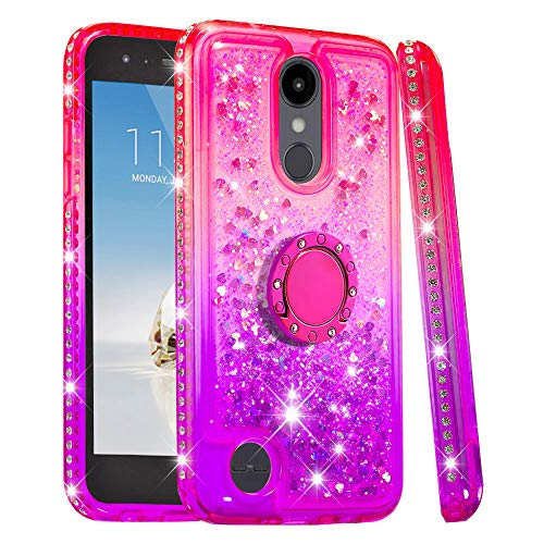 (Ring Stand Case Designed for LG Aristo 2, LG K8 2018 Case Glitter Bling Cute Girls Case with Kickstand, TPU Soft Cover with Heart Shape Quicksand Ultra-Thin Protection for LG K8 2018. (Pink Purple))