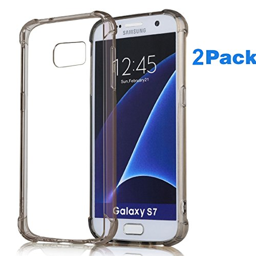 2Pack Galaxy S7 Case,ibarbe Slim Clear Cover Crystal Clear Resilient Shock Absorption Bumper Soft TPU Cover Case for Samsung Galaxy S7 (10' Through Wall Fan)