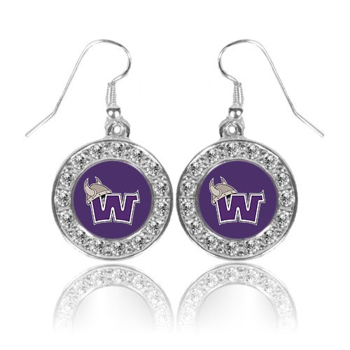 Waldorf Crystal Studded Round Pendant Silver Dangle Earrings 'Waldorf ()