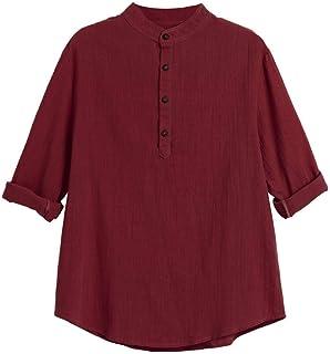Sagton T Shrit for Men Mens Half Sleeve Henley Shirt Leisure Beach Yoga Loose Fit Tops Blouse