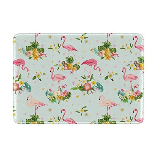 COOSUN Flamingo Bird und Tropical Flowers Leder Passhülle Cover für Travel One Pocket