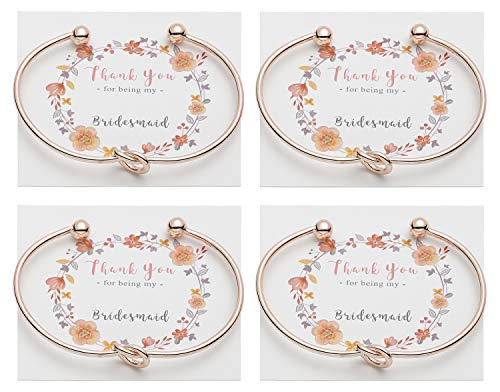 Vesungimey Bridesmaid Bracelets Bangle - Tie The Knot Bracelet Jewelry,Perfect Bridemaid Gifts with Cards -Gold,Rose Gold,Silver Color Available,Set of 1,4,6