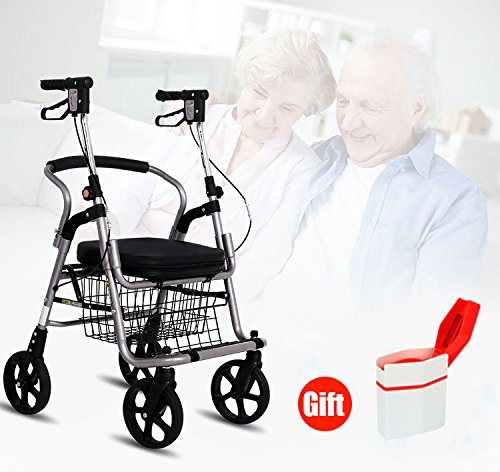 XIHAA Lightweight Folding Walker, Folding Four Rounds Trolley With Handbrake For Disabled/Elderly People For Elderly Shopping With Basket(Gray)