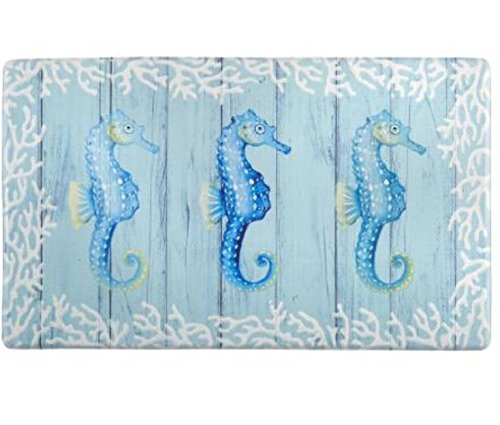 "Coastal 3 Seahorses Slip Resistant Cushioned Floor Mat 18""L x 30""W"
