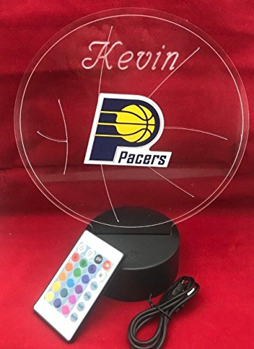 Indiana Beautiful Handmade Acrylic Personalized Pacers NBA Basketball Light Up Light Lamp LED Lamp, Our Newest Feature - It's WOW, Comes With Remote,16 Color Options, Dimmer, Free Engraved, Great Gift ()