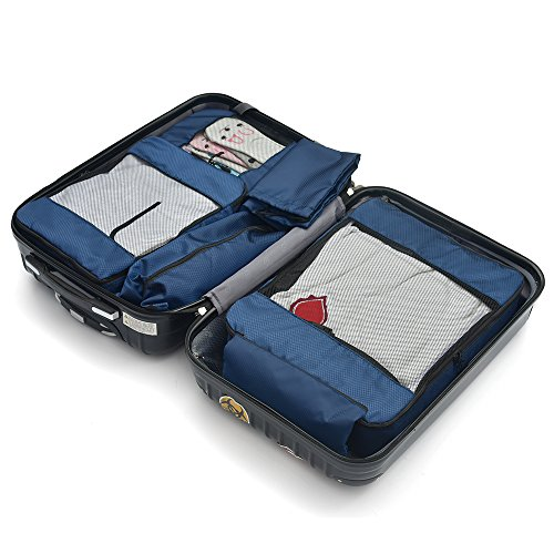 6 pcs Packing Organizer Include 3 Cubes, 1 Shoes Bag,1 Laundry Bag, 1 Cosmetic Bag (Navy) by Generic (Image #1)