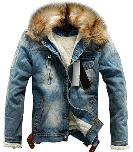 chouyatou Men's Winter Stylish Faux Fur Collar Sherpa Lined Distressed Denim Trucker Jacket (X-Large, Blue) (Coats For Men Fur Collar)