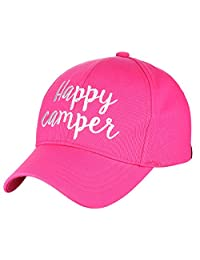 C.C Women's Embroidered Quote Adjustable Cotton Baseball Cap, Happy Camper, Hot Pink
