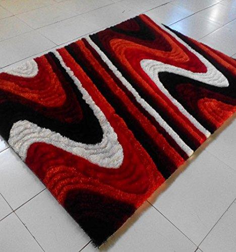Homemusthaves Red Orange Black Burgundy White Super Soft Modern Shag Shaggy Modern Contemporary Area Rugs Living Room Carpet Bedroom Rug Home Decorator Floor Rug and Carpets Hand Carved (5x8 (Square Orange Shag Rug)