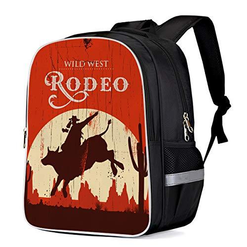 Wild West Cowboy Rodeo Classical Travel Backpack for School Students Boys/Girls Water Resistant Rucksack Bag, Retro Bull and Man Custom Printing Bookbag