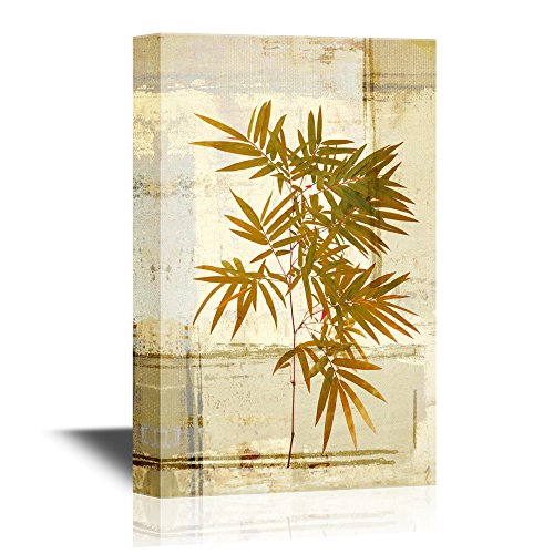Bamboo Leaves on Abstract Background