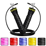 RAPIDE Jump Rope – Adjustable Cable, Rapid Ball Bearings & Anti-Slip Handles – Skipping Rope for Fast Weight Loss & for Exercise, Cardio, Crossfit (BLACK)