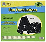 Teacher Created Resources Black Stitch 4-Inch Fun Font Letters (75150)