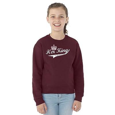 Zexpa Apparel Vintage Her King Couple Matching Youth Crewneck Sweatshirt