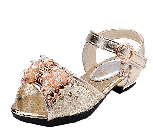 Vokamara Girls Crystal Rhinestone Sequined Bow Low Heel Sandal Gold -