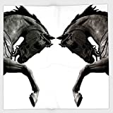 Cotton Microfiber Hand Towel,Sculptures Decor,Twin Contrast Horse Heads Statue Image Vintage Style Abstract Art Antigue War Theme Print,Bronze,for Kids, Teens, and Adults,One Side Printing