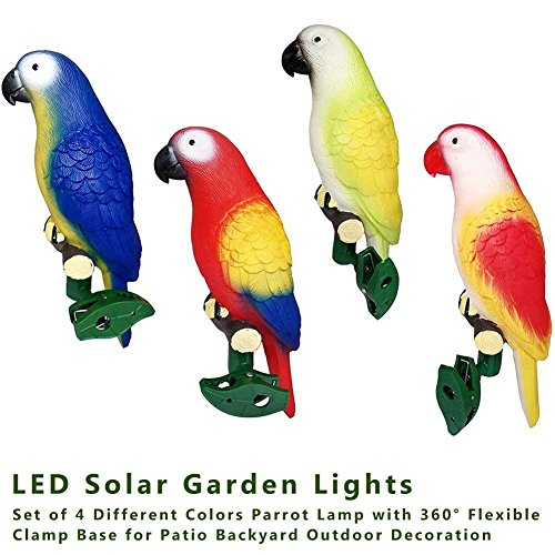 Laideyilan Outdoor Solar Garden Lights Parrot Lamp with 4 Different Colors,360°Flexible Clamp Base for Lawn Pathway Walkway Patio Backyard Outdoor Decoration Solar Parrot Lights by Laideyilan