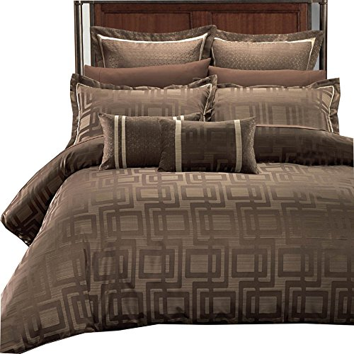 sheetsnthings Janet Jacquard 12PC King Size Bed in a Bag (Duvet Cover Set with Bed Sheets) Multi-Tone of Charcoal Brown and Beige (Cover Duvet Bed Bag A In Sets)