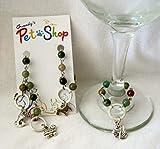 Fancy Jasper wine glass charms with animals, swan, scotty, snake and turtle wine glass charms - WG-001