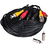 VideoSecu 150ft Feet Audio Video Power Wire Pre-made All-in-One Security Camera Cable with BNC RCA Adaptor ACBVA150 3JH
