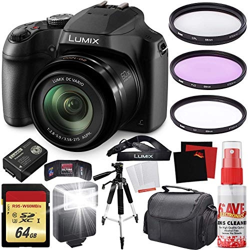 Panasonic Lumix DC-FZ80 Digital Camera + Carrying Case + 64GB Memory Card - Bundle Case Carrying