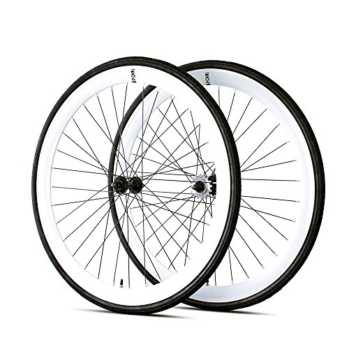 Single Speed Rims (6KU 700C Deep V Alloy Fixie Wheelset, Gloss White)