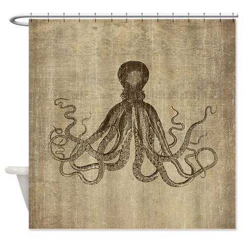 Vintage Lord Bodner Octopus Triptych Shower Curtai