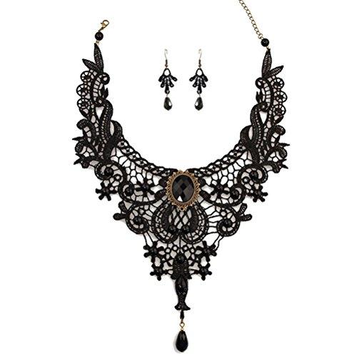 Charm.L Grace Black Lace Gothic Lolita Pendant Choker Necklace Wedding Halloween Accessories -