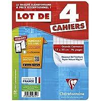 ClaireFontaine - Réf 646741c - Cahier Piqué 96 Pages 17x22 cm Grands Carreaux Couleurs Assorties - Lot de 4