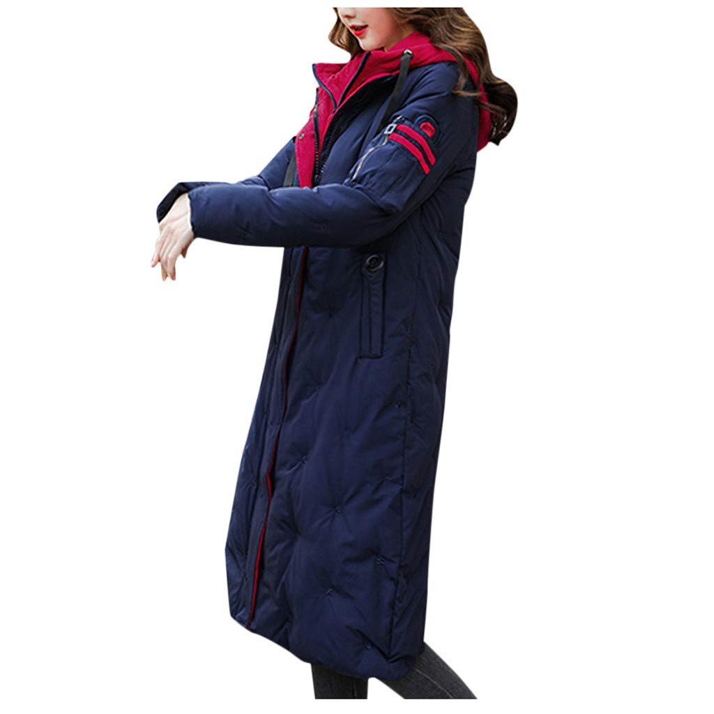 Spring Color  Womens Winter Long Sleeve Coat Hooded Thicken Zipper Button Warm Jacket Pocket Long Overcoat Outwear Dark Blue by 🍒 Spring Color 🍒