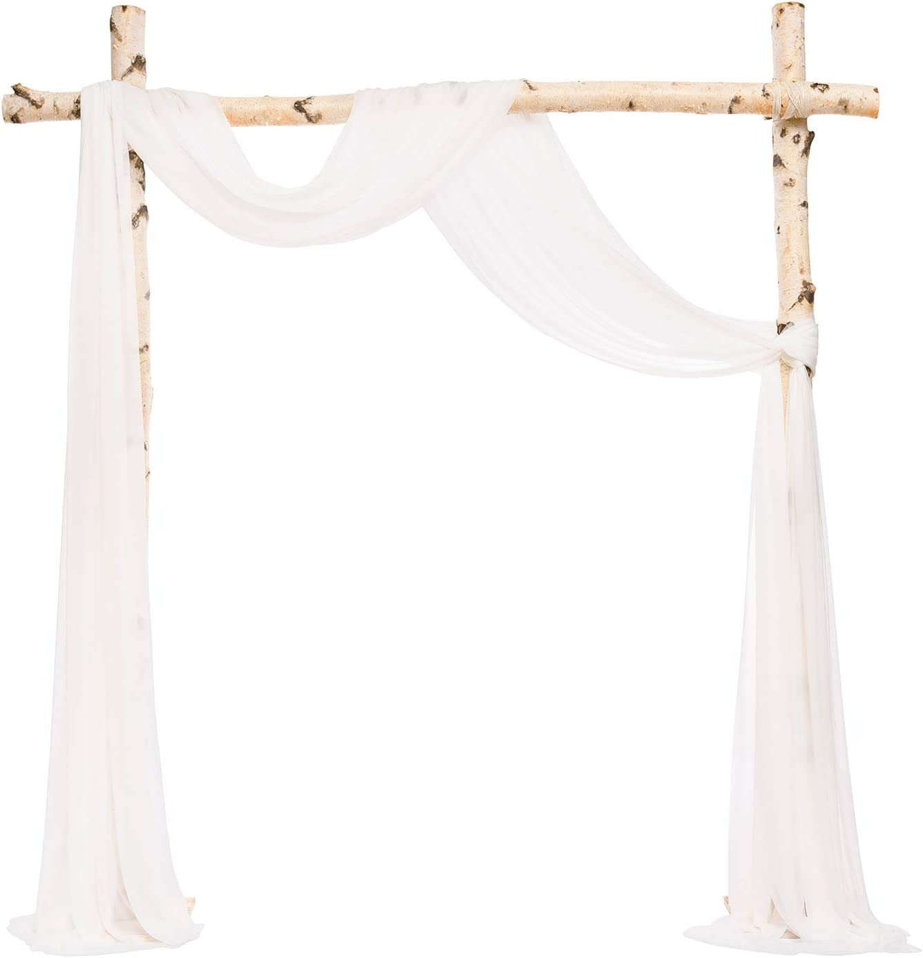 Ling's moment Sheer Backdrop Curtain Panels for Wedding Arch Ceremony Decorations (6 Yards Drapping Fabric, White)