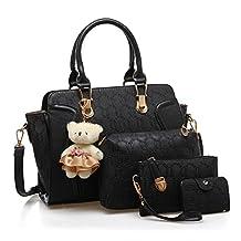 Lucky Gourd Women 4 Piece Tote Bag Zipper Handbag Purse Bags Card holder Set with Bear Pendant