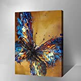 "MADE4U [Impressionism Series 2] [20""] [Thicker (1"")] [Wood Framed] Paint By Numbers Kit with Brushes and Paints (The Blue Butterfly HHGZGX8217)"