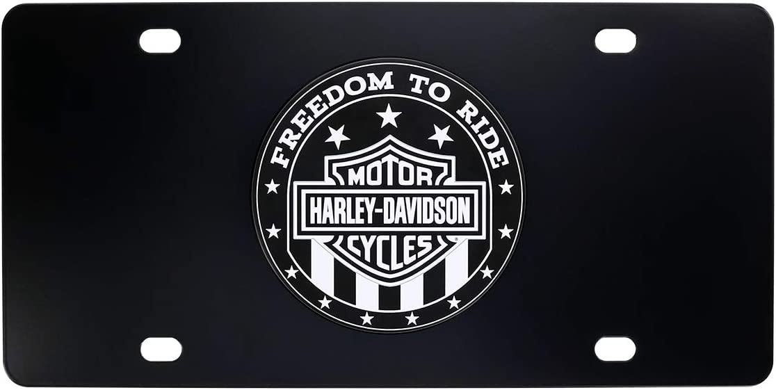Harley-Davidson Patriotic Freedom to Ride UV Printed Black /& White Decorative Vanity Front License Plate