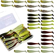 Funzhan Fishing Soft Lures for Bass Artificial Plastic Baits Paddle Tail Swimbaits Creature Shad Proven Colors