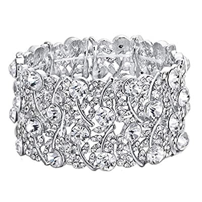 BriLove Women's Wedding Bridal Crystal Cluster Tennis Stretch Bracelet