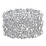 BriLove Women's Wedding Bridal Crystal Cluster Tennis Stretch Bracelet Clear Silver-Tone