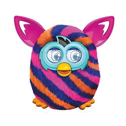"""Furby Boom Diagonal Stripes 5"""" Plush Toy Interactive with Furby Furblings Creature (Pink, Orange, Navy)"""