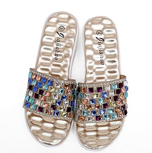 CRC Womens Roman style Casual Comfortable Multicoloured Rhinestone Synthetic Wedge Sandals Gold wlRUibu