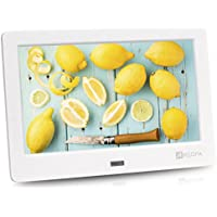 Arzopa 7 inch IPS Screen 1024x600(16:9) High Resolution Digital Photo Frame Support MP3 MP4 Video Player Clock and Calendar Function with Remote Control (White)